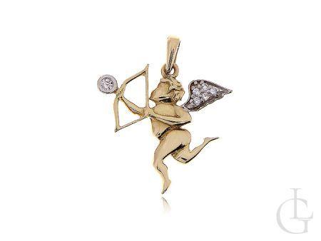 Złoty amor zawieszka symbol miłości