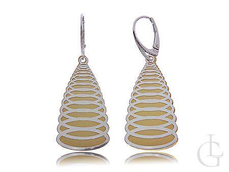 Kolczyki srebrne wiszące pozłacane w kształcie spirali