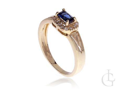 Ekskluzywny złoty pr.0,585 pierścionek zaręczynowy z szafirem