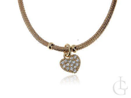 Ekskluzywny srebrny złocony naszyjnik z serduszkiem i cyrkoniami