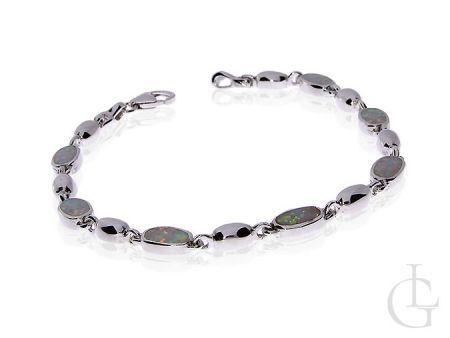 Srebrna bransoletka z opalem naturalnym tęczowym