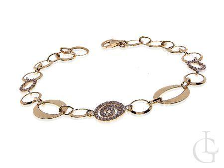 Ekskluzywna złota bransoletka damska cyrkonie złoto 14K