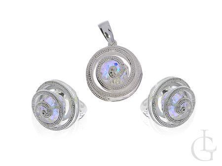 Srebrny komplet biżuterii z kryształami Swarovskiego