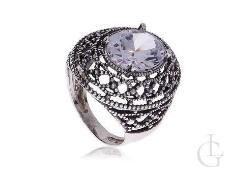 Ekskluzywny duży pierścionek z cyrkonią Swarovskiego