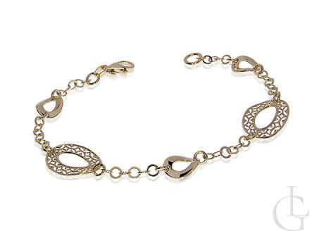 Elegancka bransoletka damska srebrna złocona