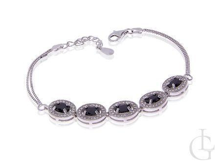 Ekskluzywna srebrna bransoletka wysadzana szafirowymi kamieniami