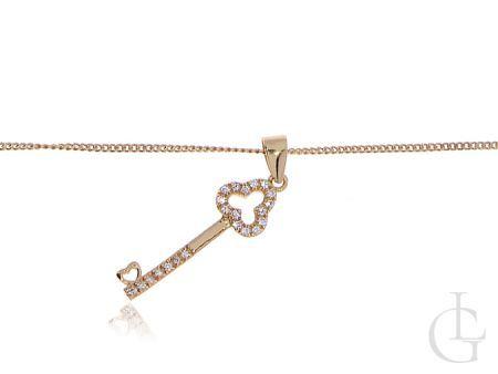 Naszyjnik damskie srebrny pozłacany z kluczykiem i cyrkoniami
