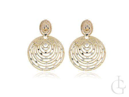 Złote kolczyki okrągłe kółka diamentowane na sztyft