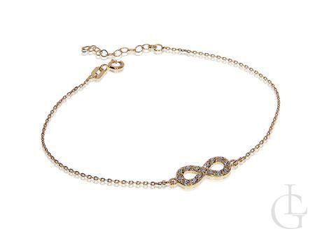 Bransoletka srebrna pozłacana ze znakiem nieskończoności infinity