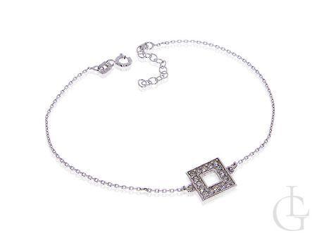 Srebrna bransoletka celebrytka damska łańcuszkowa z cyrkoniami