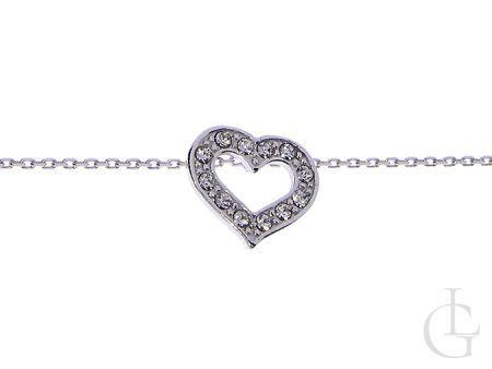 Celebrytka naszyjnik srebrny serce srebrne z łańcuszkiem
