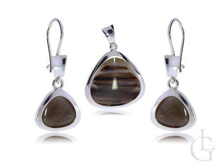 Komplet biżuterii srebrnej kolczyki i zawieszka na łańcuszek- kwarc brązowy