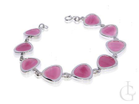Ekskluzywna bransoletka srebrna kwarc różowy