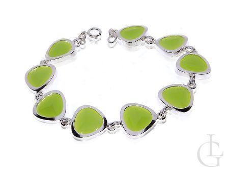 Srebrna bransoletka damska z zielonym kwarcem