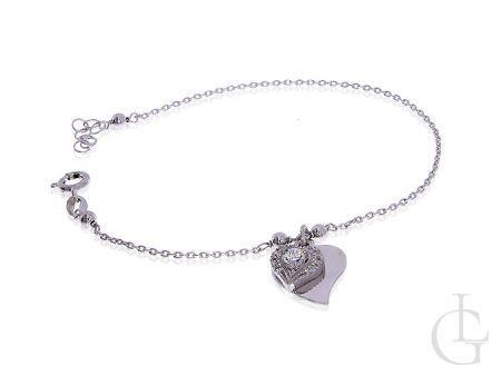 Bransoletka srebrna damska łańcuszkowa serce CHARMS