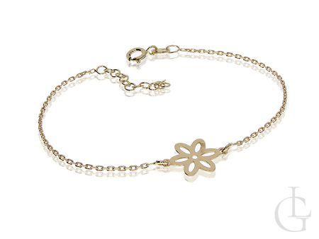 Bransoletka damska srebrna pozłacana łańcuszkowa celebrytka kwiatek