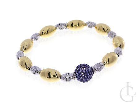 Elegancka bransoletka srebrna rodowana damska z fioletową kuleczką Swarovskiego