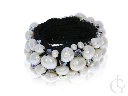 Ekskluzywna bransoletka z kamieniami Swarovskiego i perłami
