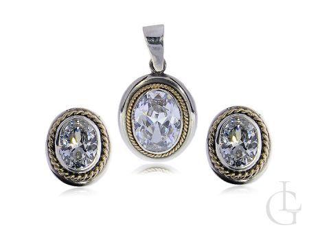 Ekskluzywny komplet biżuterii kolczyki wisiorek na łańcuszek złoto i srebro