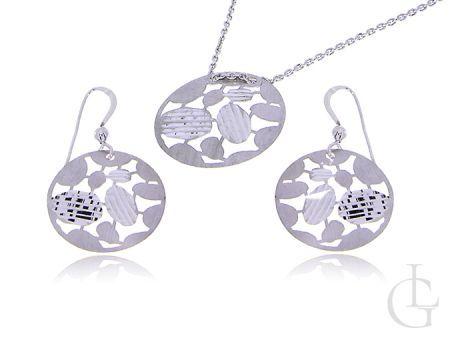 Srebrny komplet biżuterii damskiej kolczyki i zawieszka na łańcuszek