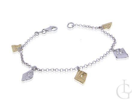 Bransoletka srebrna rodowana damska łańcuszkowa pozłacana CHARMS