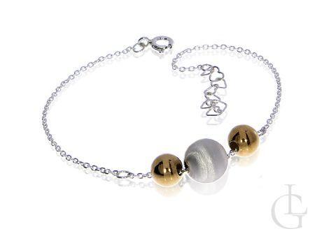 Bransoletka srebrna pozłacana damska łańcuszkowa z kuleczkami
