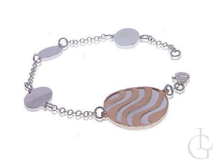 Elegancka bransoletka srebrna damska łańcuszkowa pozłacana