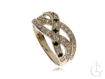 Ekskluzywny złoty pierścionek zaręczynowy szafir cyrkonie