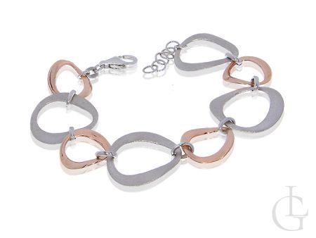 Bransoletka srebra damska pozłacane elementy