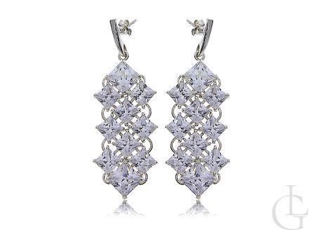 Kolczyki srebrne długie wiszące cyrkonie zapięcie sztyft- biżuteria ślubna i wieczorowa