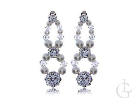Kolczyki srebrne z perłami długie wiszące na sztyft- kryształy Swarovskiego i cyrkonie