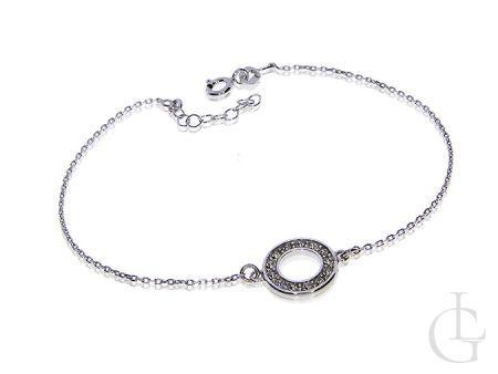 Celebrytka bransoletka srebrna łańcuszkowa kółeczko z cyrkoniami