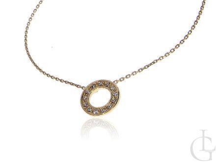 Łańcuszek srebrny naszyjnik z kółeczkiem złocenie i cyrkonie