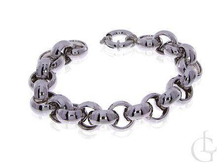 Bransoletka srebrna gruba łańcuszkowa kółka srebro rodowane