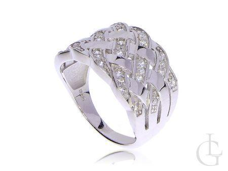 Srebrny pierścionek szeroki rodowany z cyrkoniami