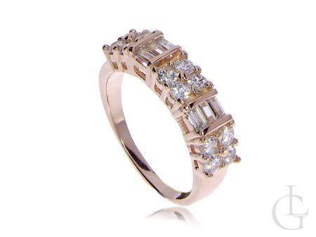 Srebrny pierścionek obrączka pozłacany z cyrkoniami