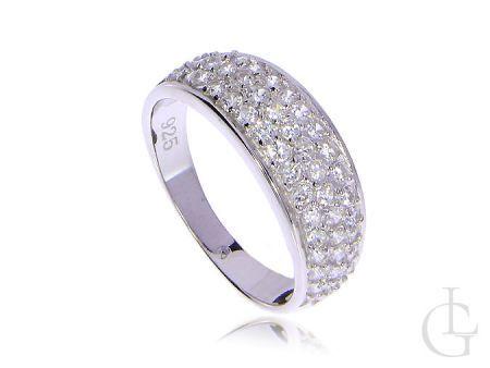Elegancki szeroki srebrny pierścionek z cyrkoniami