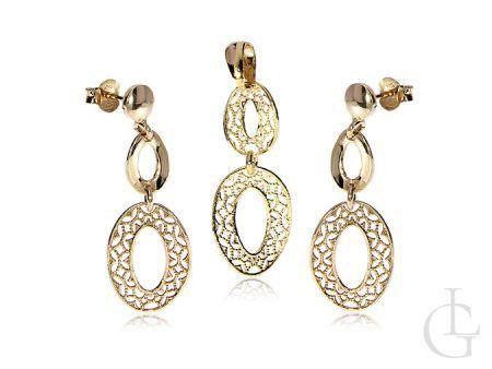 Srebrny pozłacany komplet biżuterii damskiej kolczyki i wisiorek na łańcuszek