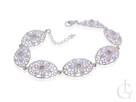 Ekskluzywna bransoletka srebrna damska wysadzana cyrkoniami