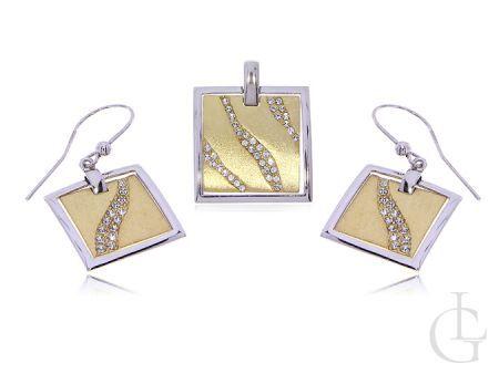 Biżuteria damska komplet srebrny pozłacany kolczyki i zawieszka na łańcuszek