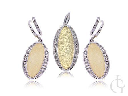 Srebrny pozłacany komplet biżuterii srebro kolczyki zapięcie angielskie i wisiorek srebrny