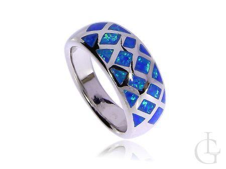 Srebrny pierścionek damski z opalem srebro opal niebieski