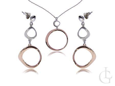 Komplet biżuterii srebrnej pozłacanej kolczyki i naszyjnik zawieszka z łańcuszkiem