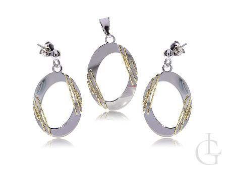 Srebrny komplet biżuterii damskiej pozłacanej kolczyki i wisiorek owalny