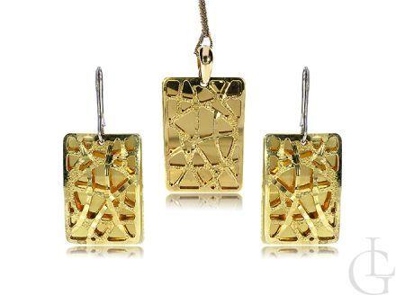 Komplet biżuterii srebrnej pozłacanej kolczyki duże prostokąt wisiorek na łańcuszek