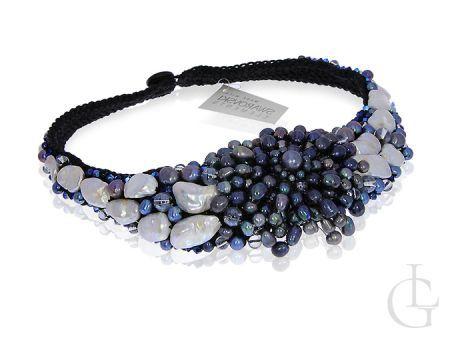 Ekskluzywny naszyjnik damski perły, kryształy Swarovskiego