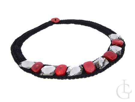 Naszyjnik damski pleciony z koralem i kryształami Swaorvskiego