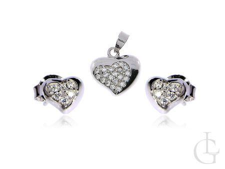 Komplet biżuterii srebrnej serduszko zawieszka na łańcuszek i kolczyki sztyft