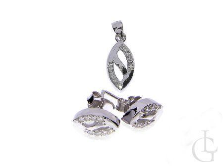 Wisiorek srebrny łezka i kolczyki sztyft komplet biżuterii srebrnej