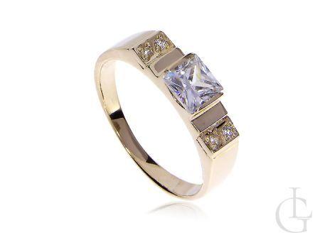 Złoty pierścionek z cyrkoniami złoto żółte 14K cyrkonie pierścionek zaręczynowy zaręczyny